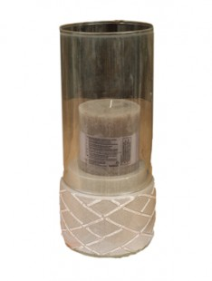 Indoor Pottery Candleholder winter gray 2 glass 21   36