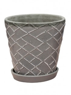Indoor Pottery Planter lattice cool grey 2 (with saucer) 21   20