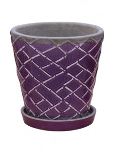 Indoor Pottery Planter lattice dusky orchid (with saucer) 21   20