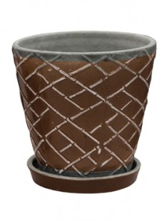 Indoor Pottery Planter lattice monks robe (with saucer) 21   20
