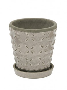 Indoor Pottery Planter macassar cool grey 2 (with saucer) 16   16