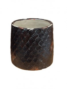 Indoor Pottery Pot textured -no rim distress black 15,5   14,5
